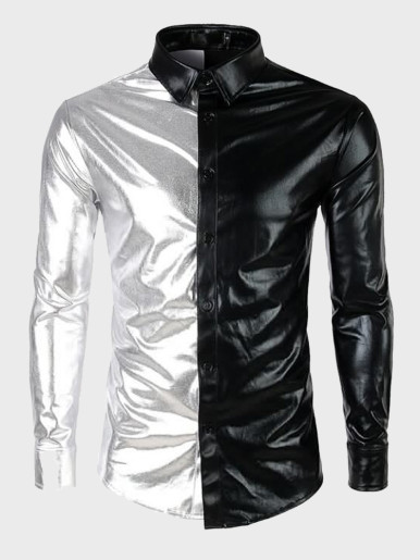 Gold Metallic Men Dress Shirt Nightclub Stage Show