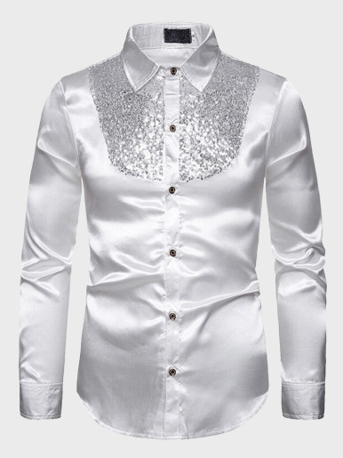 Men's Sequins Embroidered Slim Fit Shirts