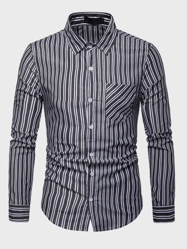 Mens Classic Vertical Striped Shirt