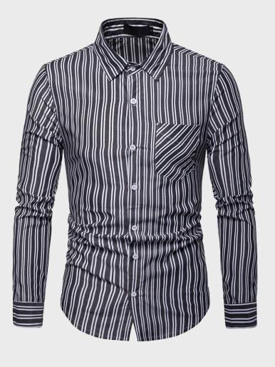 Mens Classic Vertical Striped Shirt
