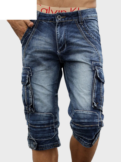 Men Cargo Bermuda Homme Male Shorts Washed Denim