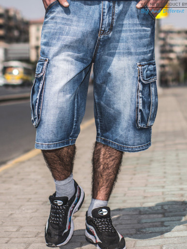 Summer Jeans Men Distressed Pockets Streetwear
