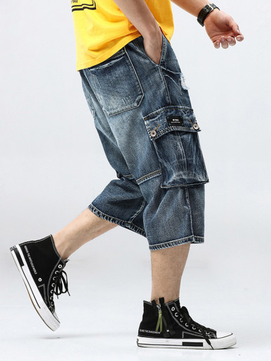 Men Cargo Multi-pocket Loose Baggy Short Jeans