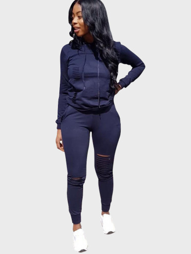Solid Women Casual Sports Suit with Slash Rip Detail