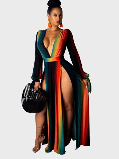 Sexy Fashion Print V Neck Split Dress