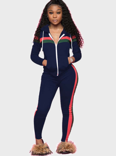 Women Casual Sports Suit with Striped Tape