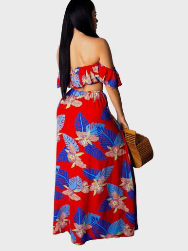 Bardot Top + Maxi Skirt Printed Women Set