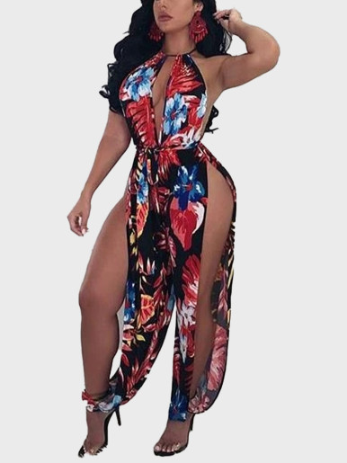 Halter Plunge Printed Jumpsuit Women Sleeveless