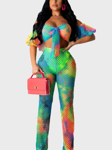 Tie Dye Fishnet Mesh Sexy Two-Piece Outfits Women