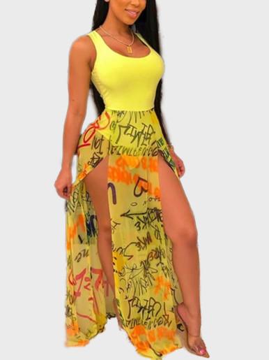 Sleeveless Women Bodysuit with Split Mesh Maxi Skirt