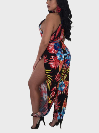 Beauty Fashion Sexy Women'S Printing Irregular Jumpsuit Nightclub