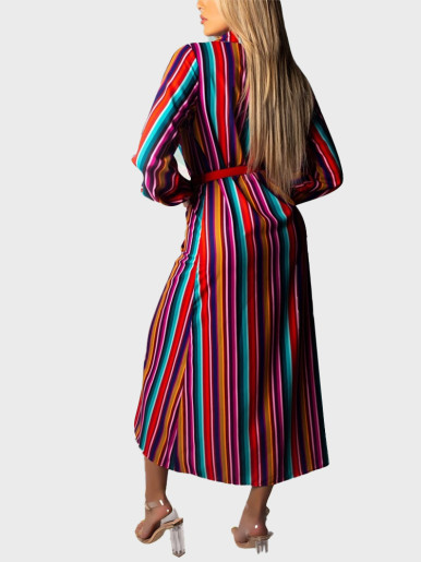 Striped Button Long Sleeve Sexy Loose Dress