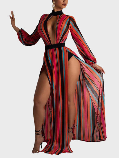 High Neck Plunge Vertical Striped Maxi Long Dress