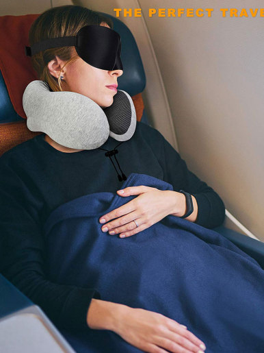 U Shaped Memory Foam Neck Pillows with Bag and Earplugs
