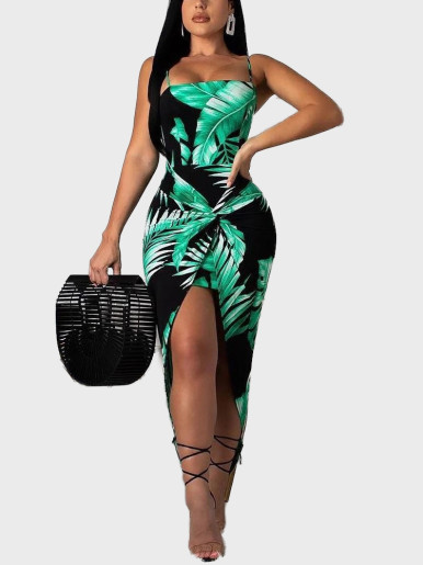 Palm Leaf Print Midi Dress with Twist Detail