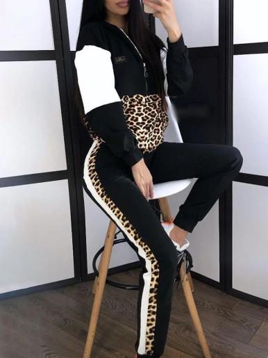 Leopard Patchwork Women Set Hoodies + Pants