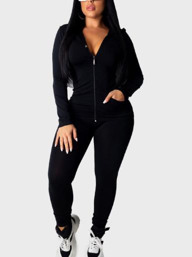 Solid Zipper Hoodies & Pants Women Sporty Sets