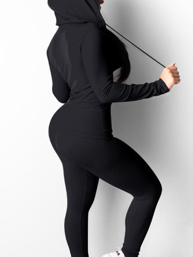 Solid Zipper Hoodies & Pants Women Sporty Sets