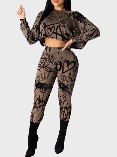 Letter Print Crop Top & Pants Women Casual Sets