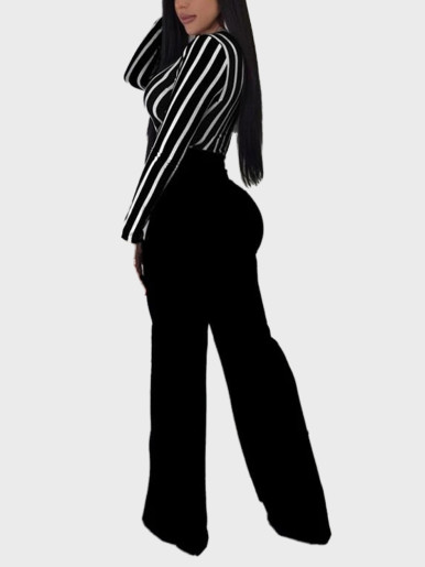 Belted Stripe Jumpsuit Women