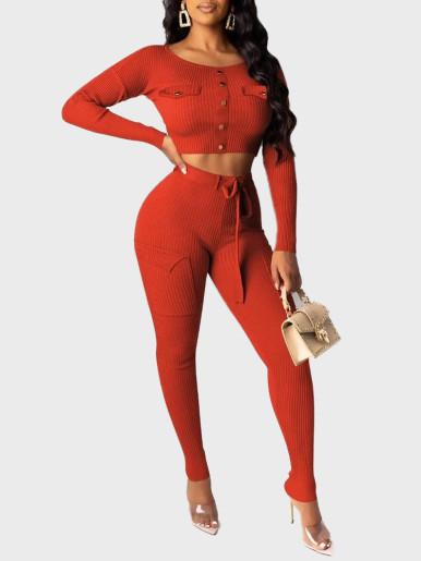 Ribbed Crop Top & Pants Women Sets