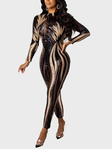 Textured Sequin Women Club Jumpsuit
