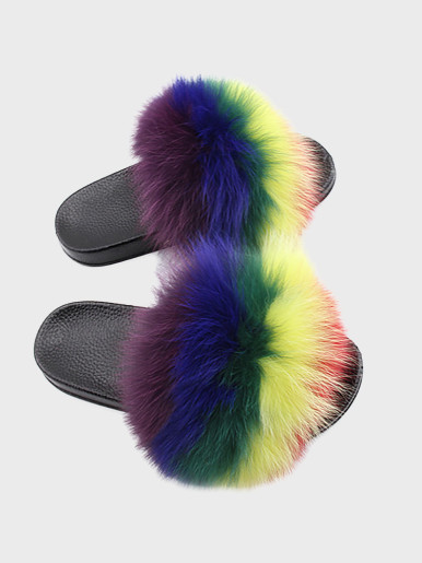 OneBling Rainbow Fuzzy Faux Fur Sliders