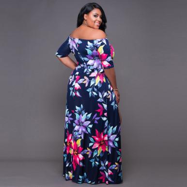 Flower Print Double Split Maxi Dress Plus Size