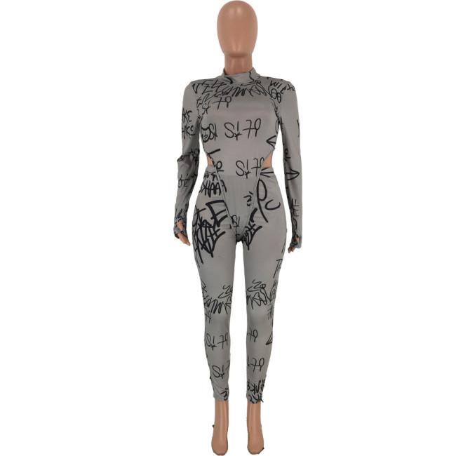 Letter Print Long Sleeve Bodysuit & Pants Women Suit