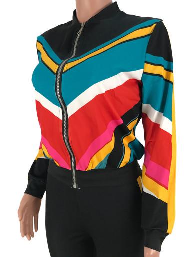 Colourblock Zip Jacket + Pants Women Sporty Set