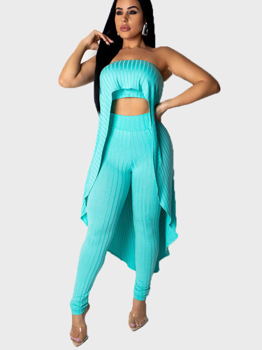 Solid Strapless Top + Pants Women 2 Piece Set