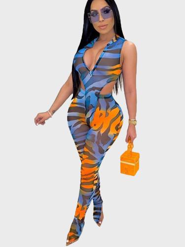 Printed Mesh Women Two Piece Bodysuit + Pants
