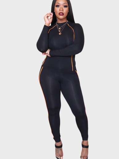 Solid Women Tracksuit with Tipping