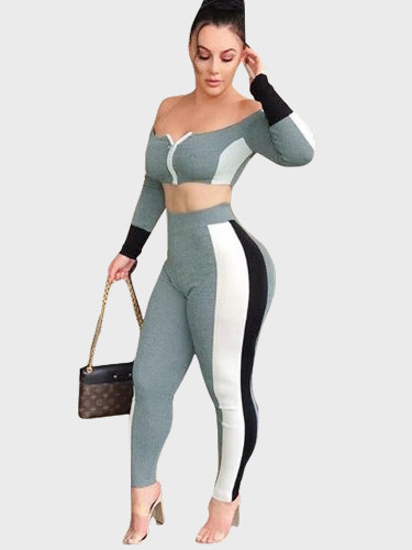 Colourblock Off Shoulder Crop Top + Pants Women Set