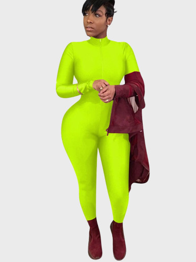 Neon Zip Up Long Sleeve Women Jumpsuit