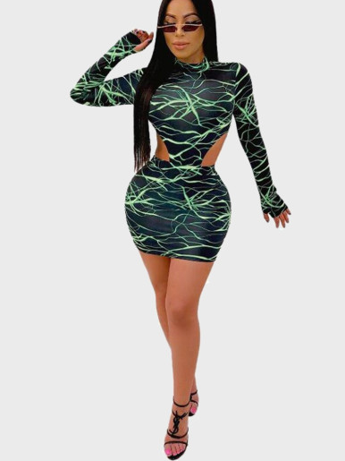 Printed High-Cut Bodysuits + Mini Skirt 2 Piece Outfit Women