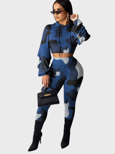Camo Print Hoodie + Pants Women Sporty Set