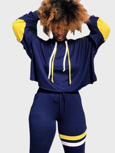 High Neck Sweatshirt + Pants Women 2 Piece Set