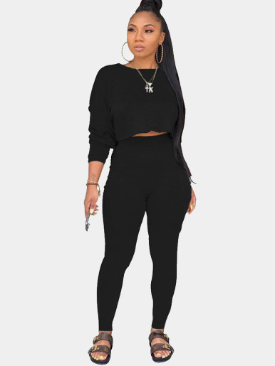 Solid Crop Sweatshirt + Pants Women Suits