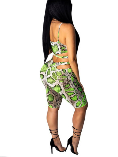 Snake Skin Print 2 Piece Outfits For Women
