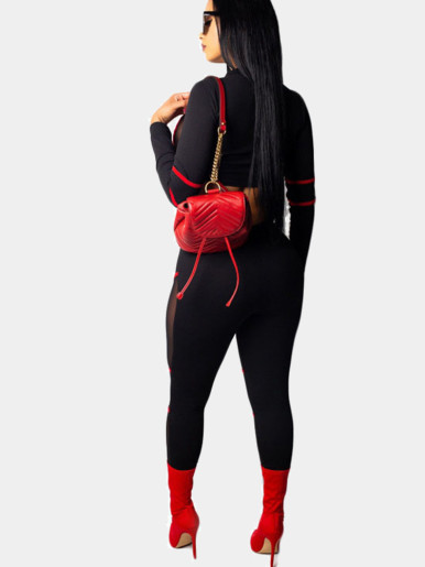 Red Tipping Detail Mesh Insert Women Fitness Set