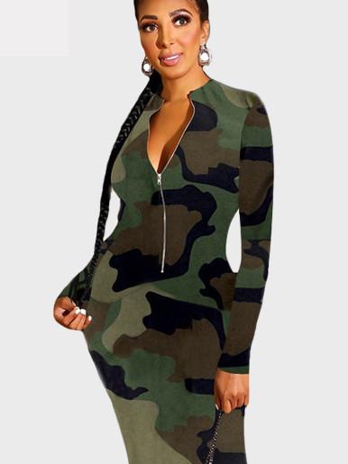 Half Zipper Women Maxi Dress In Camo