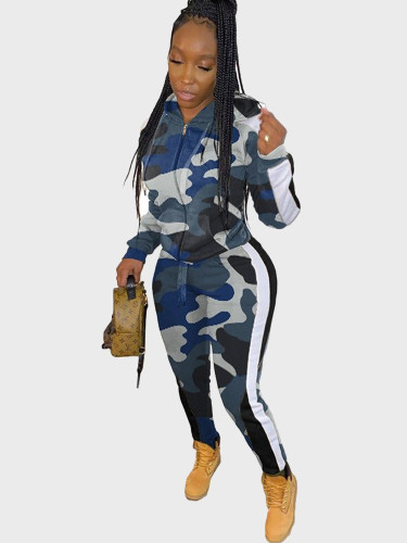 Camo Print Hoodie + Jogger Women Tracksuit with Taping