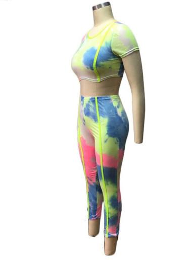 Tie Dye Women 2 Piece Set with Neon Green Tipping