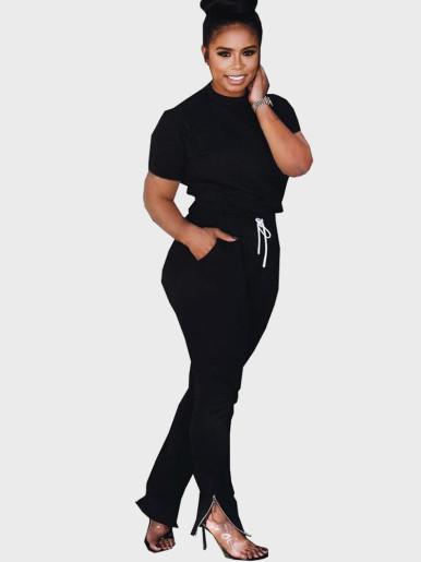 Short Sleeve T-Shirt + Pants Women Set