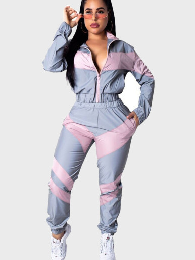 Contrast Panel Women Sporty Suit
