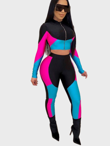 Colourblock Zipper Crop Top +Pants Women Set