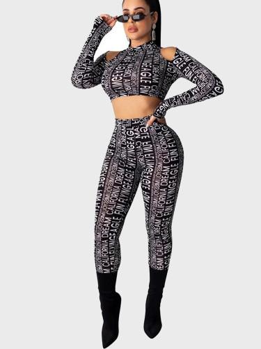Letters Striped Print Cut-Out Detail Crop Top + Pants Women Set