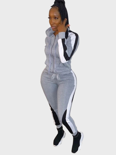 Women Tracksuit Hoodie + Jogger with Striped Taping