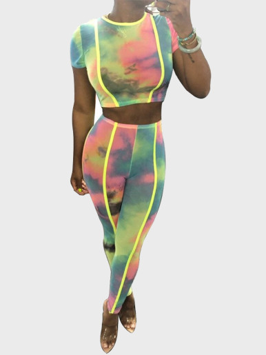 Tie Dye Women 2 Piece Set with Neon Green Tipping